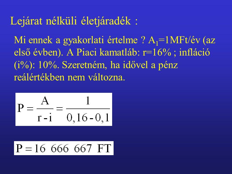 Mi ennek a gyakorlati értelme . A 1 =1MFt/év (az első évben).