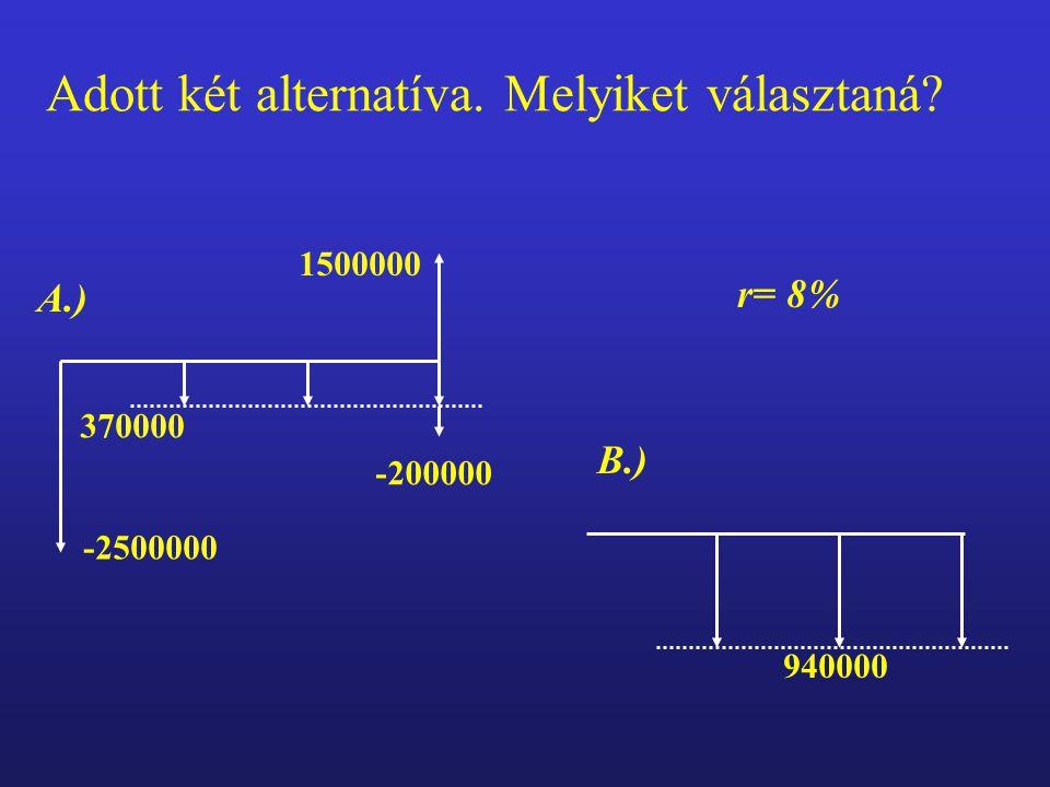 370000 -200000 1500000 -2500000 A.) 940000 B.) r= 8% Adott két alternatíva. Melyiket választaná