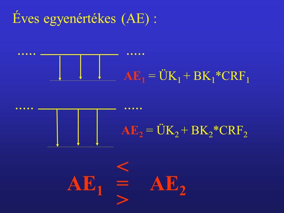 Éves egyenértékes (AE) : AE 1 = ÜK 1 + BK 1 *CRF 1.....