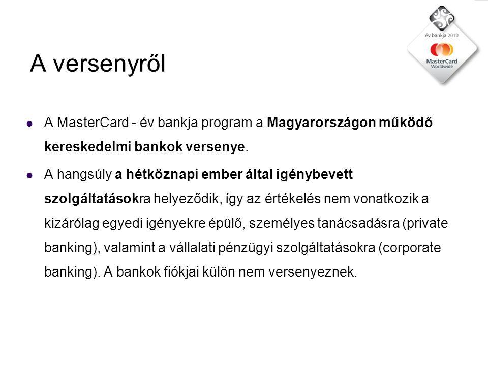 A versenyről  A MasterCard - év bankja program a Magyarországon működő kereskedelmi bankok versenye.