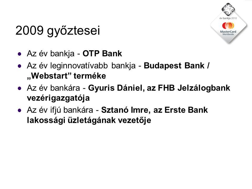 """2009 győztesei  Az év lakossági számlacsomag terméke - Citibank / """"Nullaforintos számla  Az év lakossági hitelterméke - CIB Bank / """"Megoldás Hitel terméke  Az év lakossági megtakarítási terméke 2009 - Raiffeisen Bank """"Előrekamatozó Betét terméke  Az év társadalmilag felelős bankja - MKB Bank  A válságot legjobban kezelő bank - OTP Bank"""