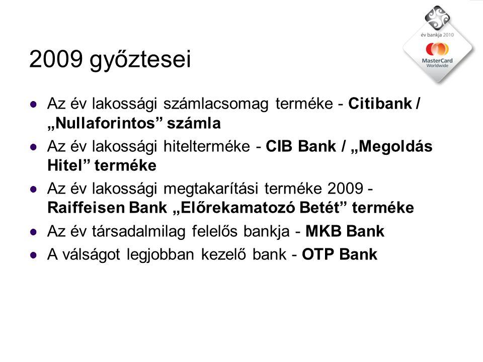 Kategóriák 2010 1.Az év bankja 2. Az év leginnovatívabb bankja 3.
