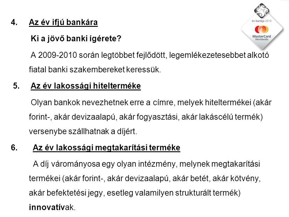 4.Az év ifjú bankára Ki a jövő banki ígérete.