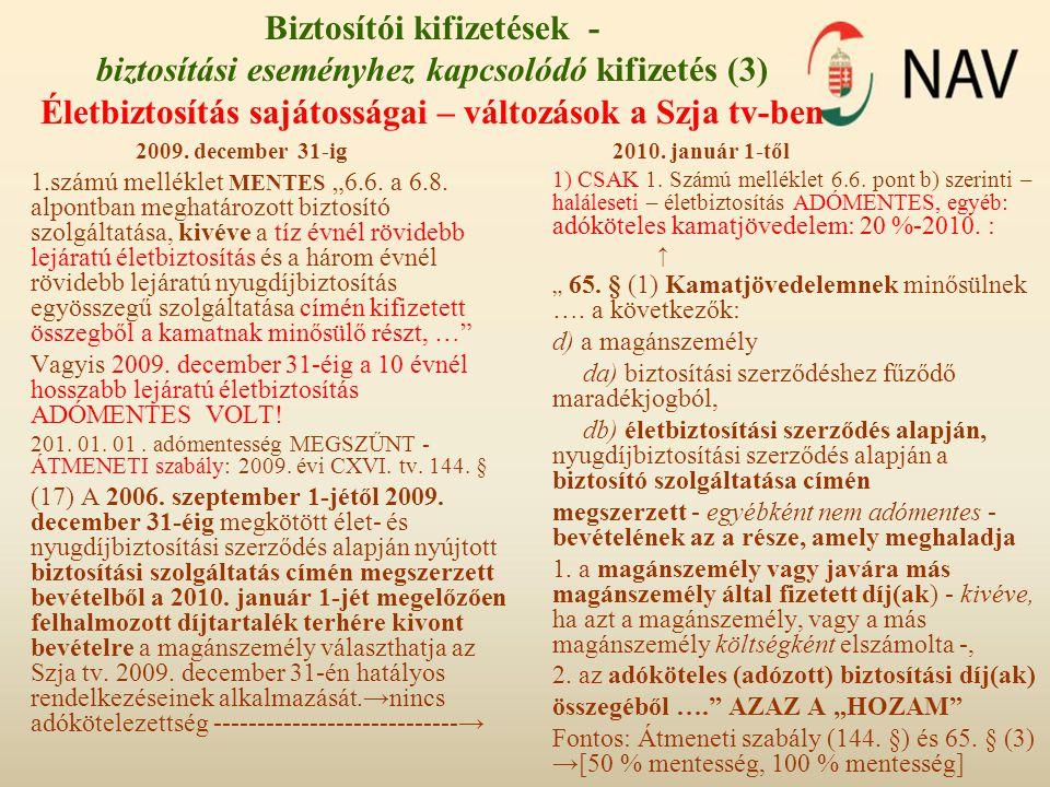 Biztosítói kifizetések - biztosítási eseményhez kapcsolódó kifizetés (3) Életbiztosítás sajátosságai – változások a Szja tv-ben 2009. december 31-ig 1