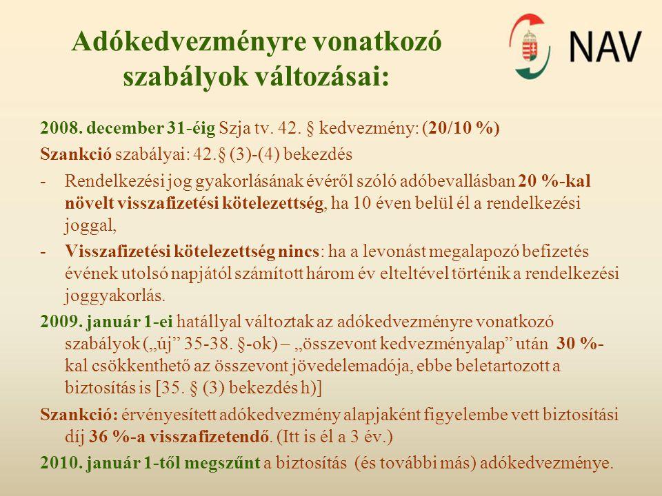 Adókedvezményre vonatkozó szabályok változásai: 2008. december 31-éig Szja tv. 42. § kedvezmény: (20/10 %) Szankció szabályai: 42.§ (3)-(4) bekezdés -