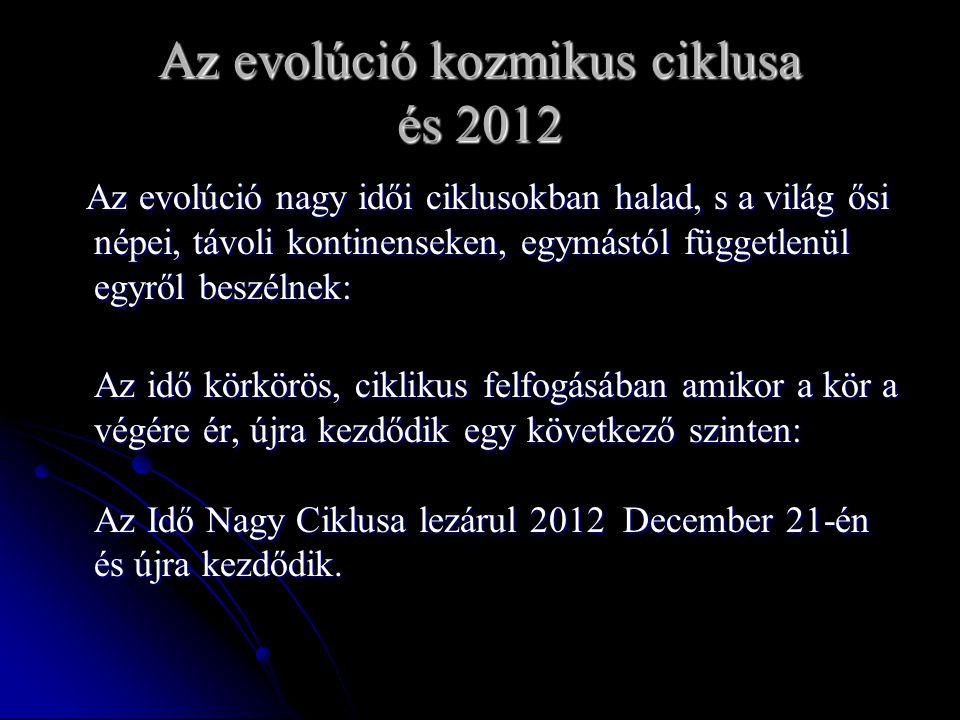 Az evolúció kozmikus ciklusa és 2012 Az evolúció nagy idői ciklusokban halad, s a világ ősi népei, távoli kontinenseken, egymástól függetlenül egyről beszélnek: Az evolúció nagy idői ciklusokban halad, s a világ ősi népei, távoli kontinenseken, egymástól függetlenül egyről beszélnek: Az idő körkörös, ciklikus felfogásában amikor a kör a végére ér, újra kezdődik egy következő szinten: Az Idő Nagy Ciklusa lezárul 2012 December 21-én és újra kezdődik.