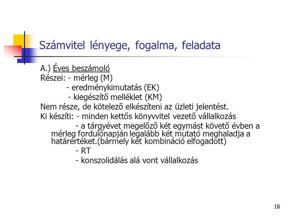 16 Számvitel lényege, fogalma, feladata A.) Éves beszámoló Részei: - mérleg (M) - eredménykimutatás (EK) - kiegészítő melléklet (KM) Nem része, de köt