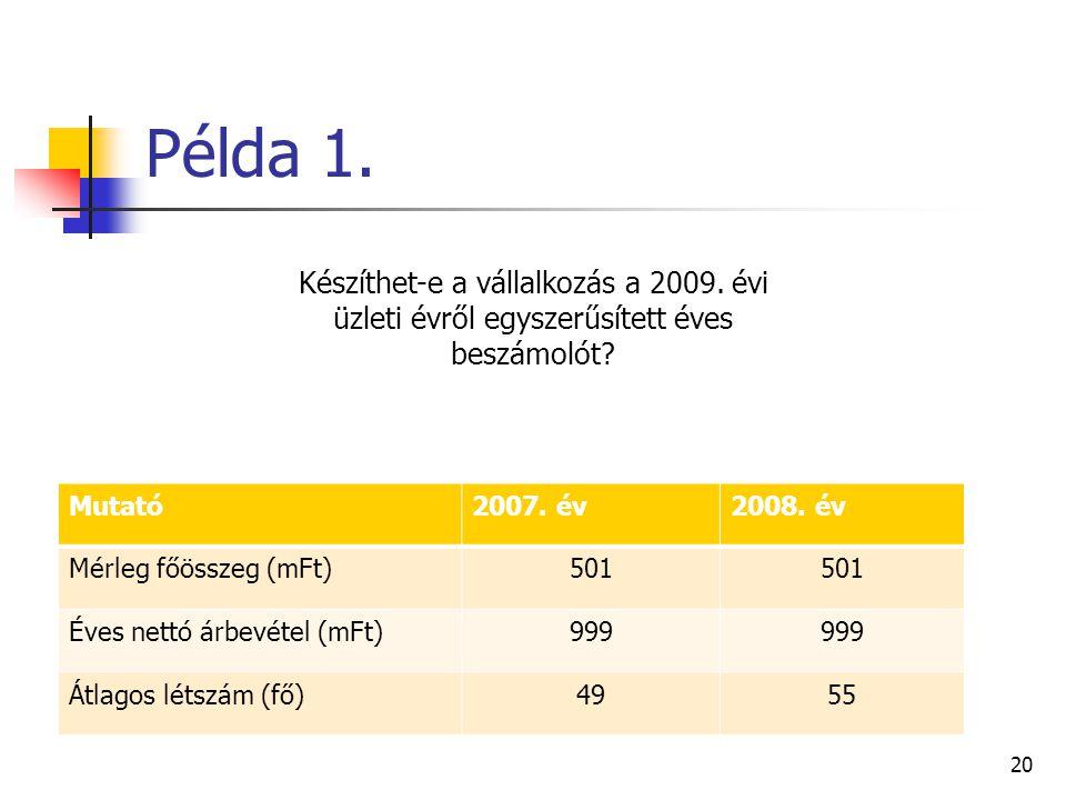 Példa 1. Mutató2007. év2008. év Mérleg főösszeg (mFt)501 Éves nettó árbevétel (mFt)999 Átlagos létszám (fő)4955 20 Készíthet-e a vállalkozás a 2009. é