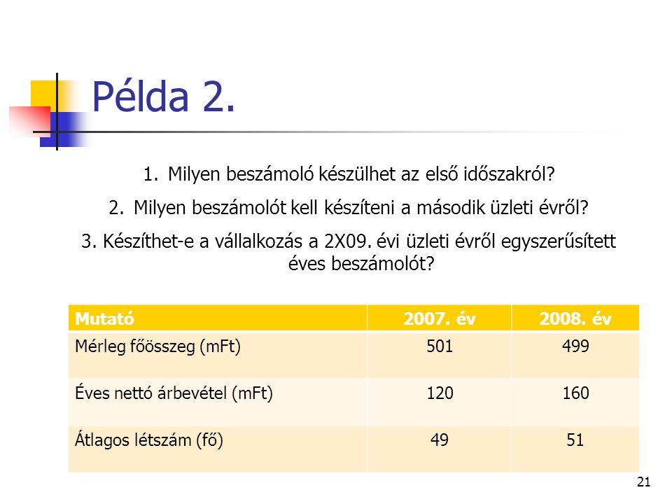 Példa 2. Mutató2007. év2008. év Mérleg főösszeg (mFt)501499 Éves nettó árbevétel (mFt)120160 Átlagos létszám (fő)4951 21 1.Milyen beszámoló készülhet