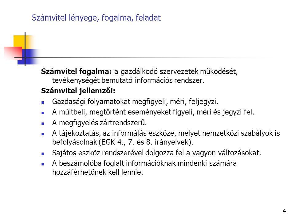 4 Számvitel lényege, fogalma, feladat Számvitel fogalma: a gazdálkodó szervezetek működését, tevékenységét bemutató információs rendszer. Számvitel je