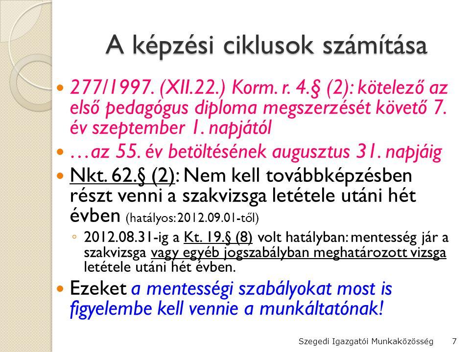 A képzési ciklusok számítása  277/1997.(XII.22.) Korm.