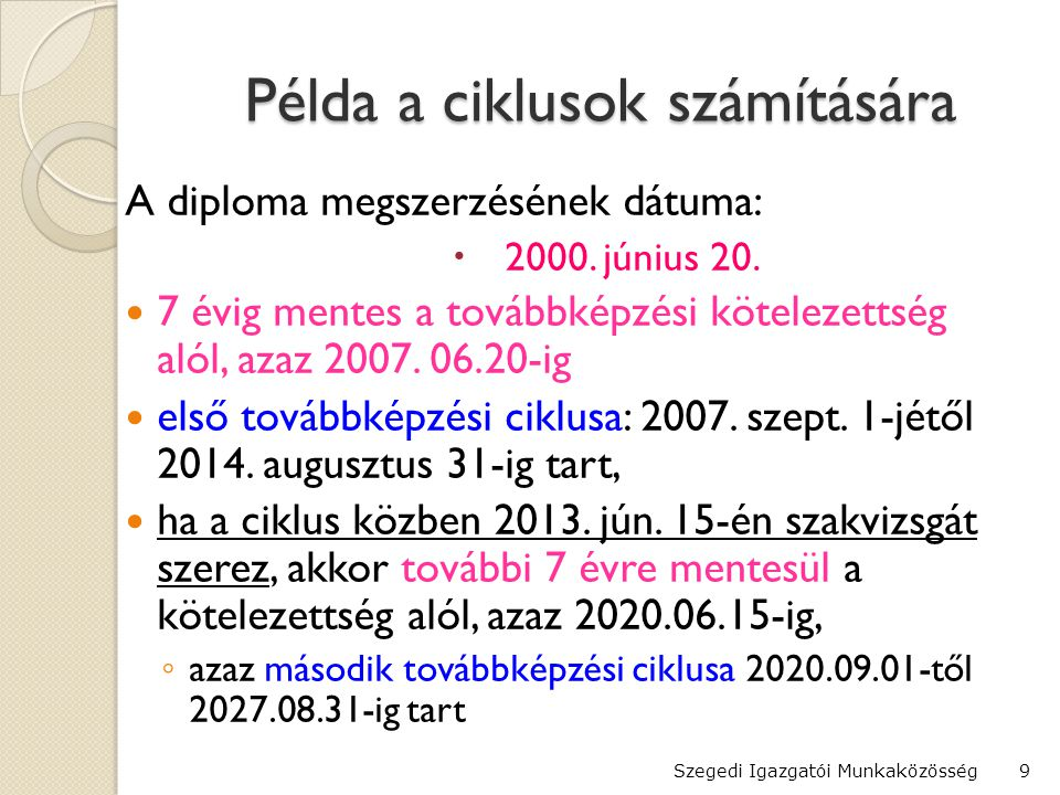 Példa a ciklusok számítására A diploma megszerzésének dátuma:  2000.