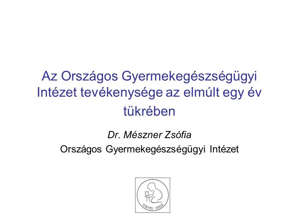 Az Országos Gyermekegészségügyi Intézet tevékenysége az elmúlt egy év tükrében Dr. Mészner Zsófia Országos Gyermekegészségügyi Intézet