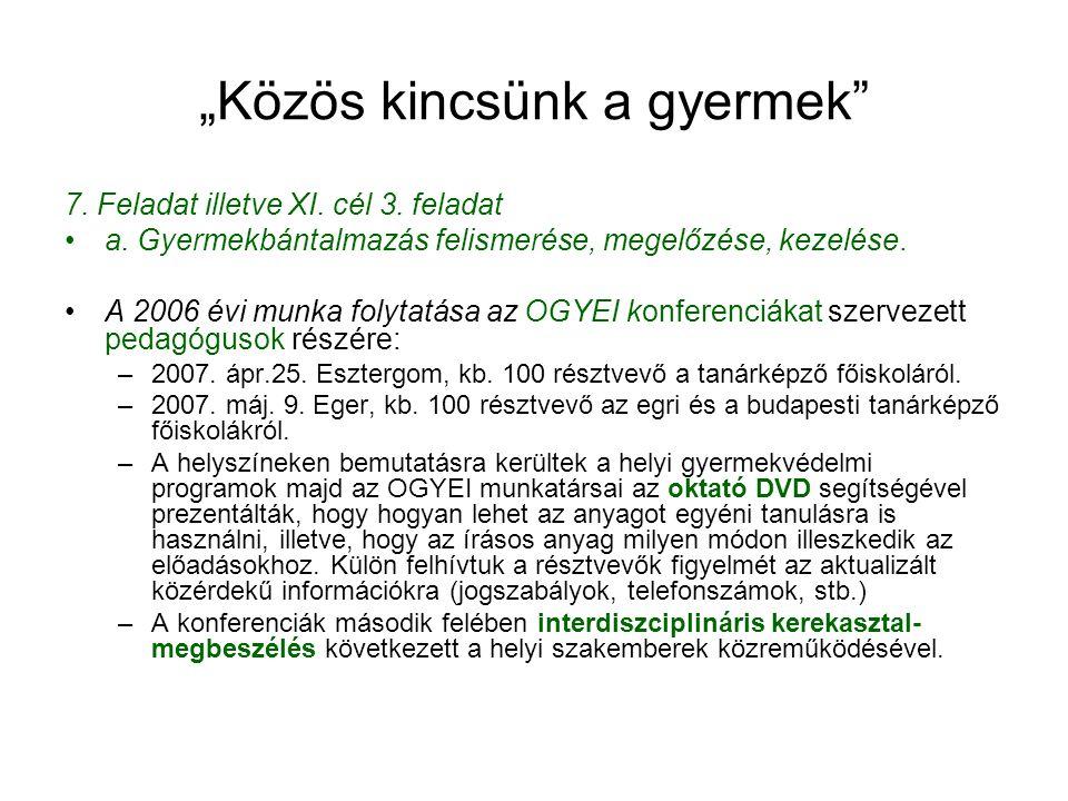 """""""Közös kincsünk a gyermek"""" 7. Feladat illetve XI. cél 3. feladat •a. Gyermekbántalmazás felismerése, megelőzése, kezelése. •A 2006 évi munka folytatás"""