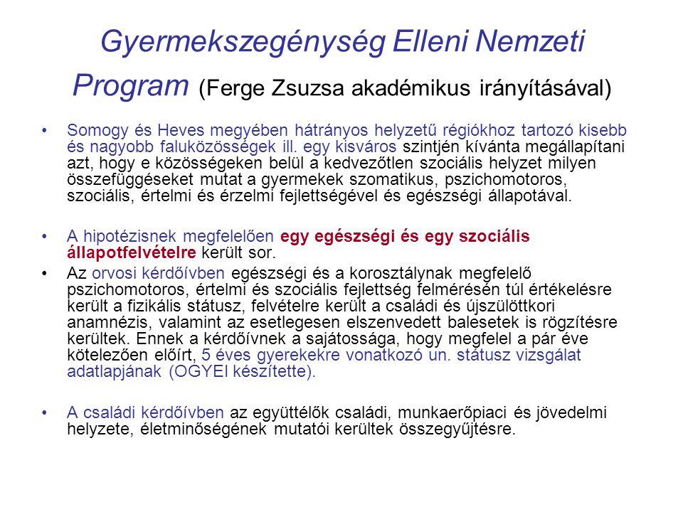 Gyermekszegénység Elleni Nemzeti Program (Ferge Zsuzsa akadémikus irányításával) •Somogy és Heves megyében hátrányos helyzetű régiókhoz tartozó kisebb és nagyobb faluközösségek ill.