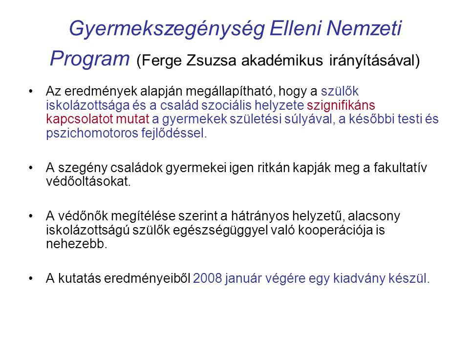 Gyermekszegénység Elleni Nemzeti Program (Ferge Zsuzsa akadémikus irányításával) •Az eredmények alapján megállapítható, hogy a szülők iskolázottsága é