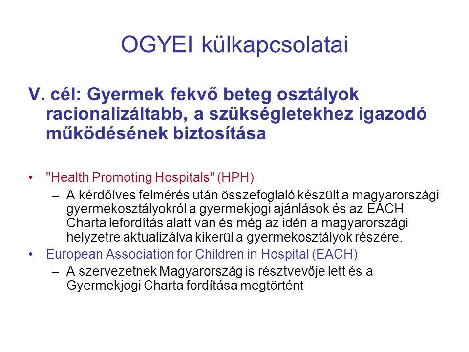 OGYEI külkapcsolatai V. cél: Gyermek fekvő beteg osztályok racionalizáltabb, a szükségletekhez igazodó működésének biztosítása •