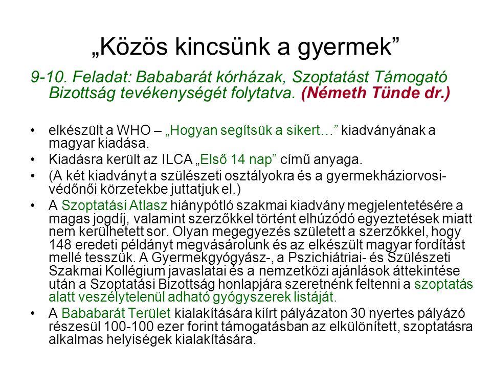 """""""Közös kincsünk a gyermek"""" 9-10. Feladat: Bababarát kórházak, Szoptatást Támogató Bizottság tevékenységét folytatva. (Németh Tünde dr.) •elkészült a W"""