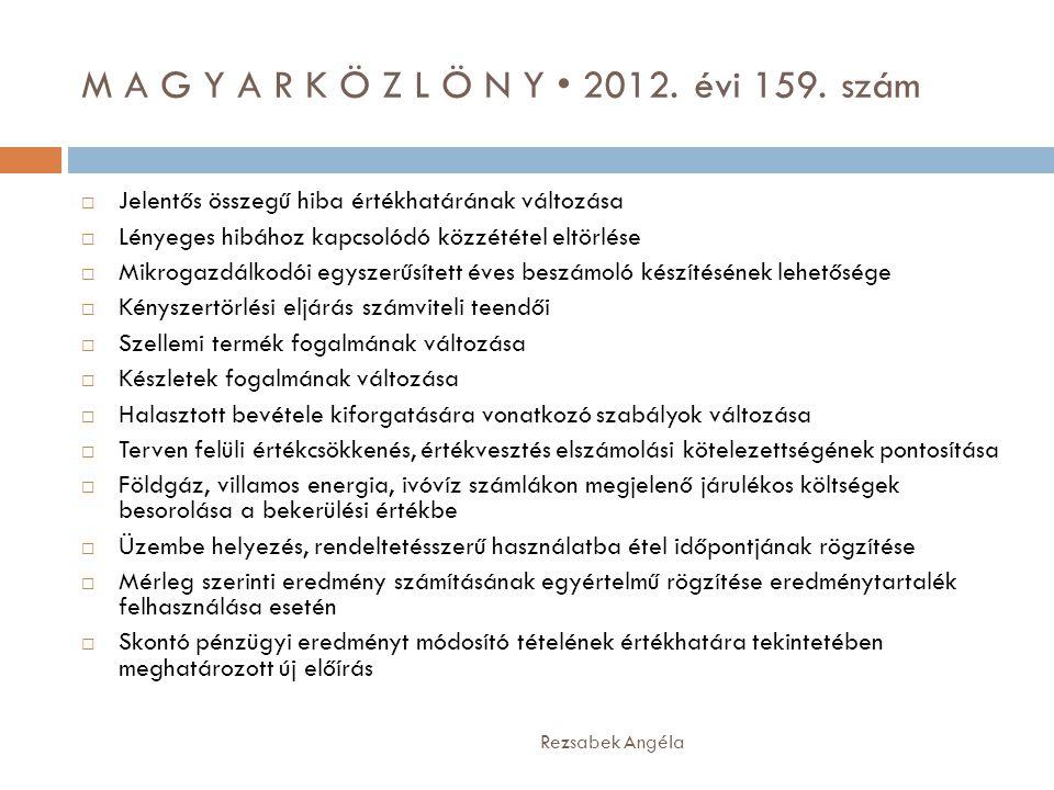 M A G Y A R K Ö Z L Ö N Y • 2012. évi 159. szám Rezsabek Angéla  Jelentős összegű hiba értékhatárának változása  Lényeges hibához kapcsolódó közzété