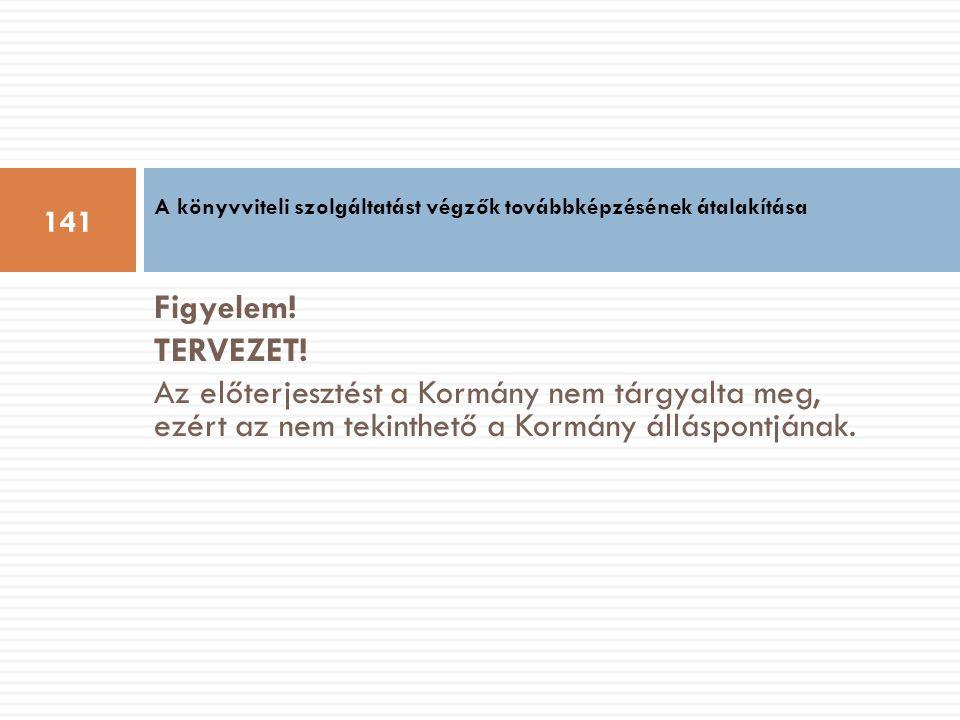 Figyelem! TERVEZET! Az előterjesztést a Kormány nem tárgyalta meg, ezért az nem tekinthető a Kormány álláspontjának. A könyvviteli szolgáltatást végző