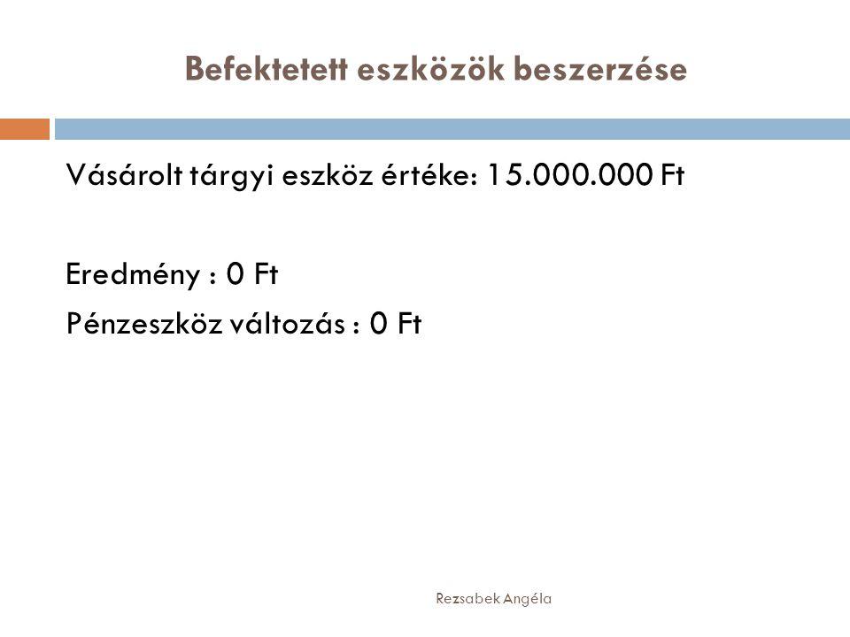 Befektetett eszközök beszerzése Rezsabek Angéla Vásárolt tárgyi eszköz értéke: 15.000.000 Ft Eredmény : 0 Ft Pénzeszköz változás : 0 Ft