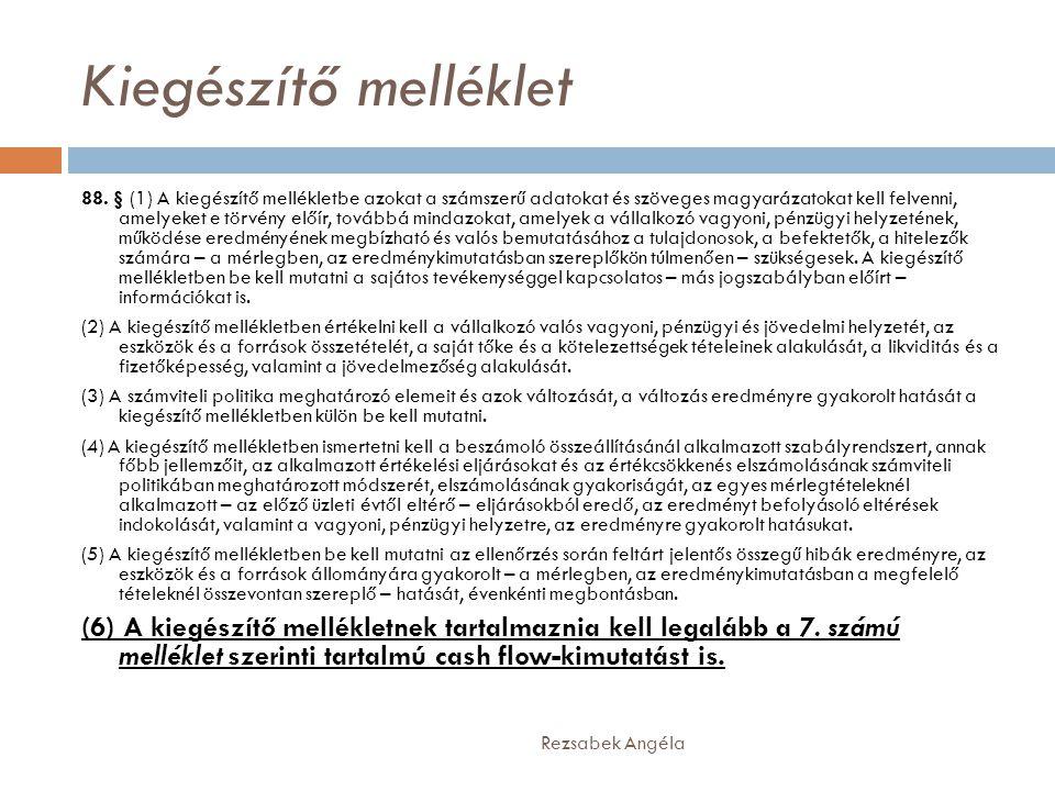 Kiegészítő melléklet Rezsabek Angéla 88. § (1) A kiegészítő mellékletbe azokat a számszerű adatokat és szöveges magyarázatokat kell felvenni, amelyeke