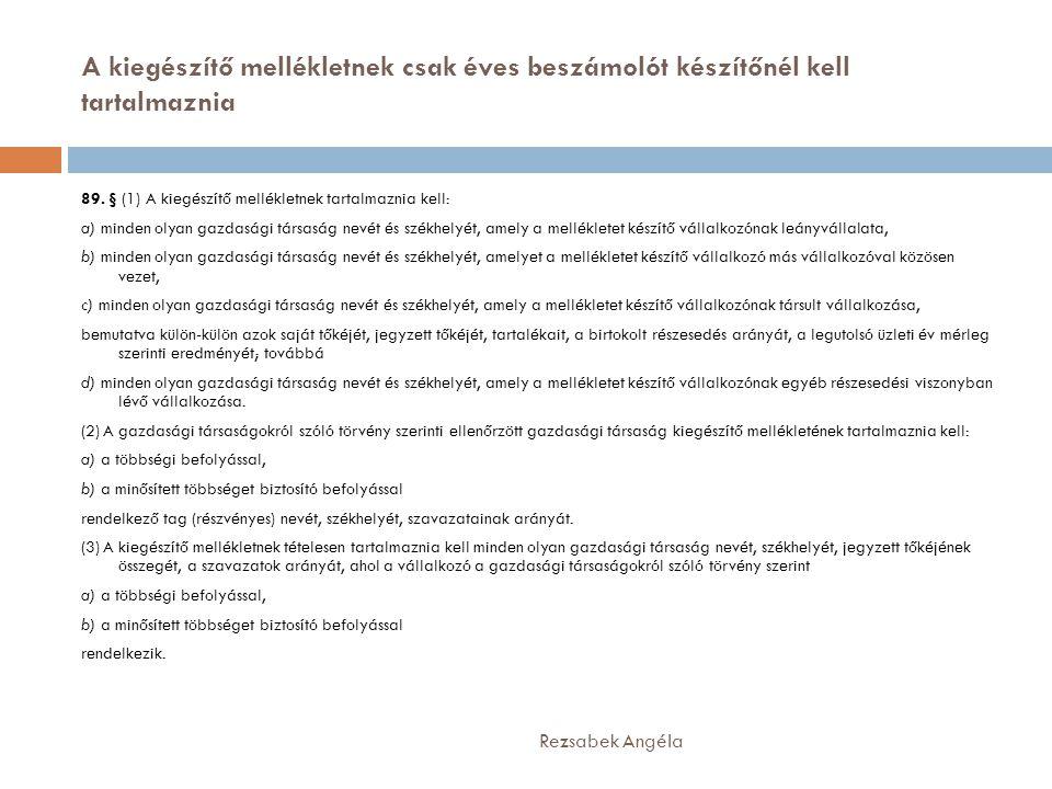 A kiegészítő mellékletnek csak éves beszámolót készítőnél kell tartalmaznia Rezsabek Angéla 89. § (1) A kiegészítő mellékletnek tartalmaznia kell: a)