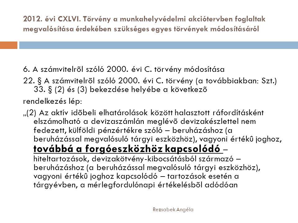 2012. évi CXLVI. Törvény a munkahelyvédelmi akciótervben foglaltak megvalósítása érdekében szükséges egyes törvények módosításáról Rezsabek Angéla 6.