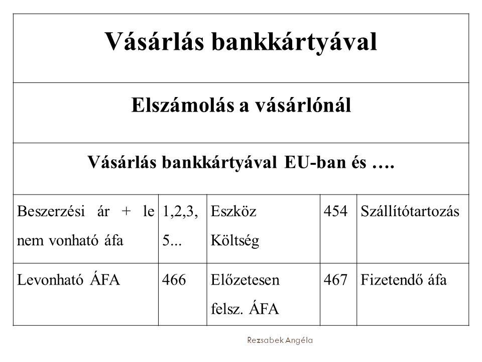 Rezsabek Angéla Vásárlás bankkártyával Elszámolás a vásárlónál Vásárlás bankkártyával EU-ban és …. Beszerzési ár + le nem vonható áfa   Eszk