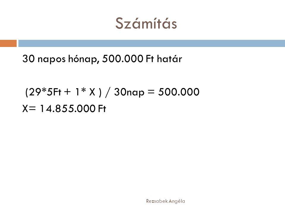 Számítás Rezsabek Angéla 30 napos hónap, 500.000 Ft határ (29*5Ft + 1* X ) / 30nap = 500.000 X= 14.855.000 Ft