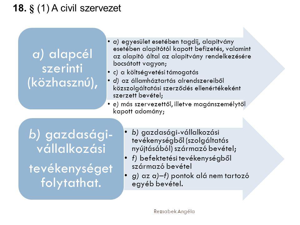 Rezsabek Angéla •a) egyesület esetében tagdíj, alapítvány esetében alapítótól kapott befizetés, valamint az alapító által az alapítvány rendelkezésére