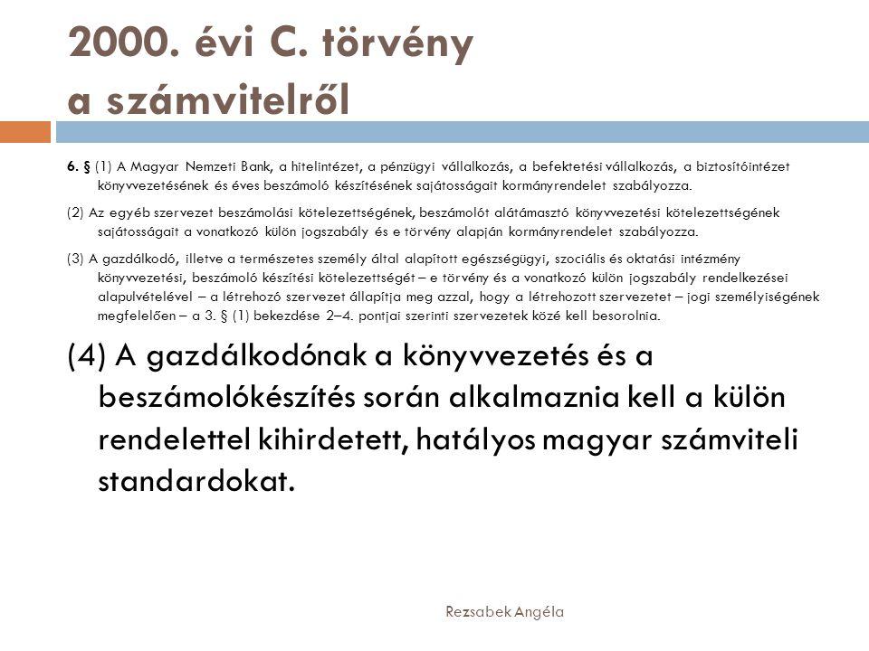 2000. évi C. törvény a számvitelről 6. § (1) A Magyar Nemzeti Bank, a hitelintézet, a pénzügyi vállalkozás, a befektetési vállalkozás, a biztosítóinté