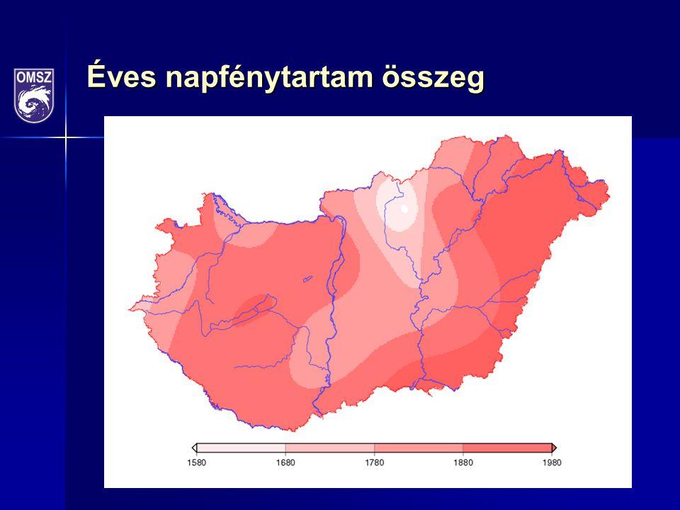 Szélsőségek A legmagasabb mért hőmérséklet: 36,8 °C, Paks, július 17.