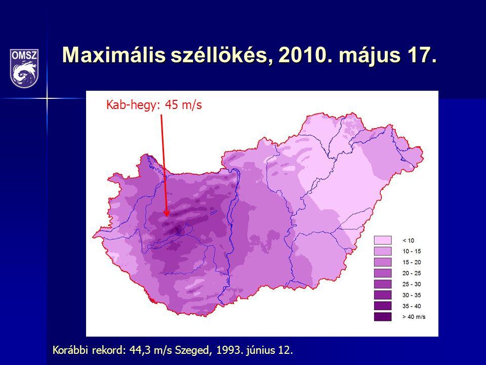Maximális széllökés, 2010. május 17. Kab-hegy: 45 m/s Korábbi rekord: 44,3 m/s Szeged, 1993. június 12.