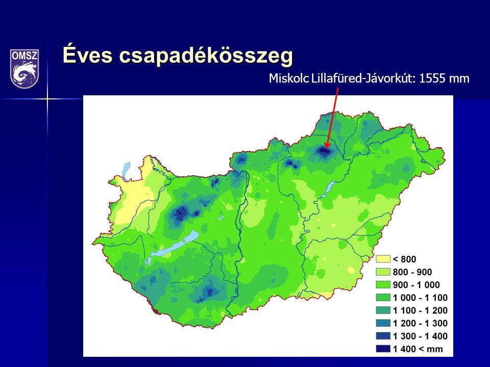 Éves csapadékösszeg Miskolc Lillafüred-Jávorkút: 1555 mm
