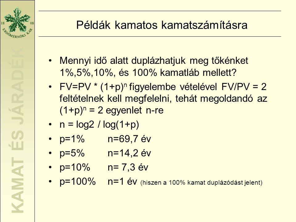 KAMAT ÉS JÁRADÉK Példák kamatos kamatszámításra •Mennyi idő alatt duplázhatjuk meg tőkénket 1%,5%,10%, és 100% kamatláb mellett? •FV=PV * (1+p) n figy