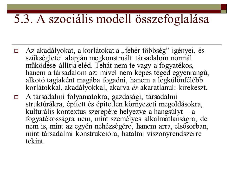 """5.3. A szociális modell összefoglalása  Az akadályokat, a korlátokat a """"fehér többség"""" igényei, és szükségletei alapján megkonstruált társadalom norm"""