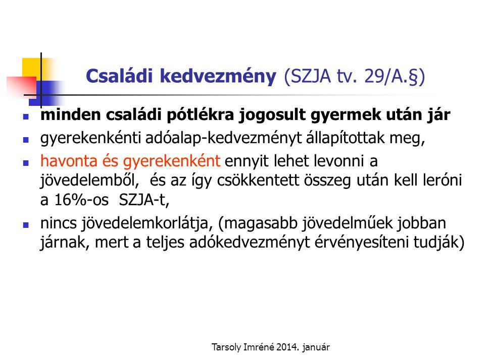 Tarsoly Imréné 2014.január Családi kedvezmény (SZJA tv.