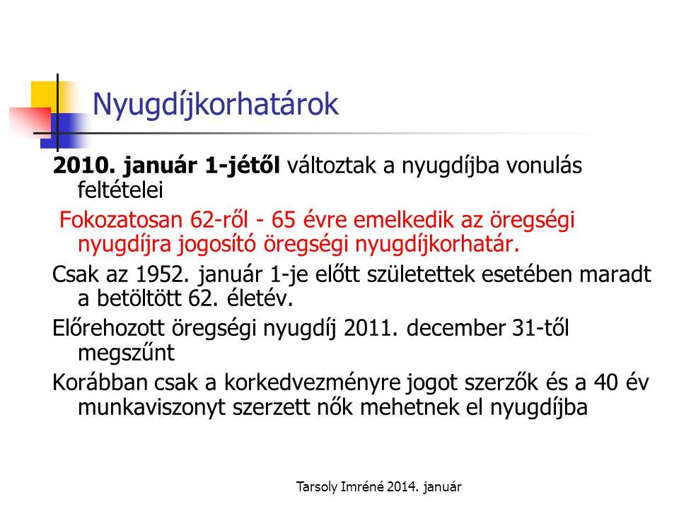 Tarsoly Imréné 2014.január Nyugdíjkorhatárok 2010.