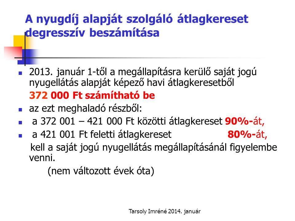 Tarsoly Imréné 2014.január A nyugdíj alapját szolgáló átlagkereset degresszív beszámítása  2013.