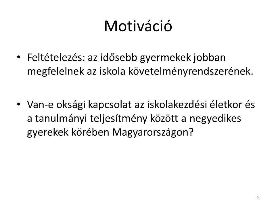 Motiváció • Feltételezés: az idősebb gyermekek jobban megfelelnek az iskola követelményrendszerének.