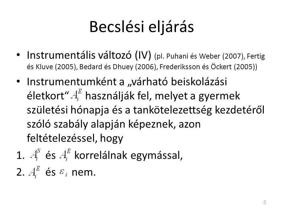 Becslési eljárás • Instrumentális változó (IV) (pl.