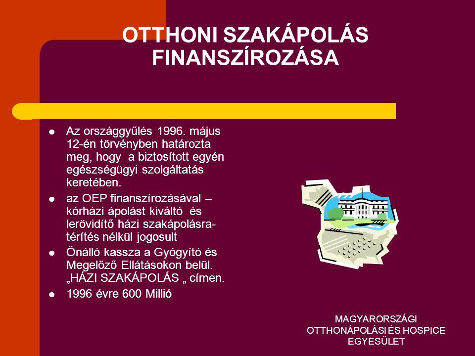 MAGYARORSZÁGI OTTHONÁPOLÁSI ÉS HOSPICE EGYESÜLET OTTHONI SZAKÁPOLÁS FINANSZÍROZÁSA  Az országgyűlés 1996. május 12-én törvényben határozta meg, hogy