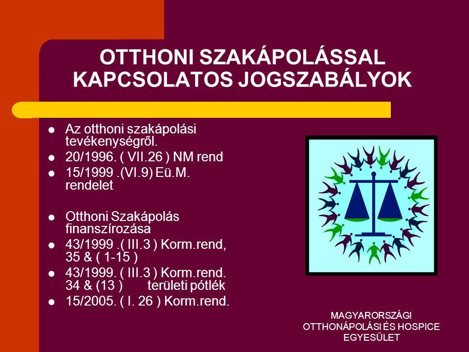 MAGYARORSZÁGI OTTHONÁPOLÁSI ÉS HOSPICE EGYESÜLET OTTHONI SZAKÁPOLÁSSAL KAPCSOLATOS JOGSZABÁLYOK  Az otthoni szakápolási tevékenységről.  20/1996. (