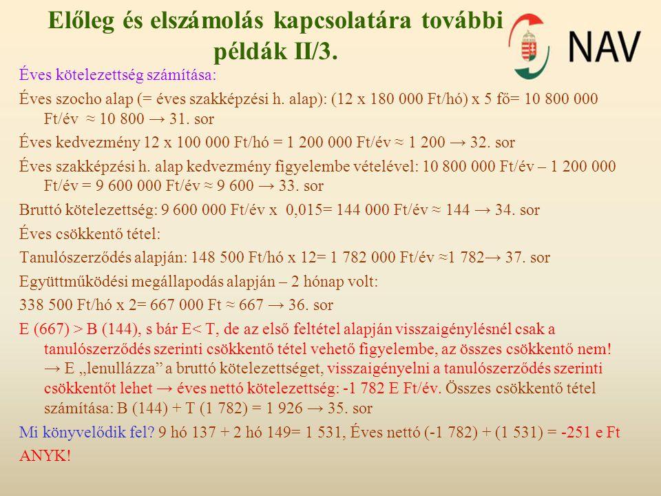 Előleg és elszámolás kapcsolatára további példák II/3. Éves kötelezettség számítása: Éves szocho alap (= éves szakképzési h. alap): (12 x 180 000 Ft/h