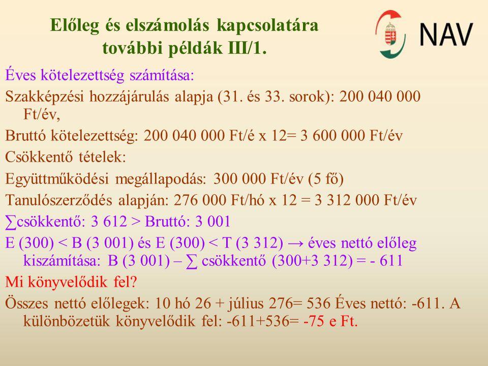 Előleg és elszámolás kapcsolatára további példák III/1. Éves kötelezettség számítása: Szakképzési hozzájárulás alapja (31. és 33. sorok): 200 040 000