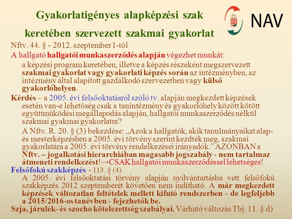 Gyakorlatigényes alapképzési szak keretében szervezett szakmai gyakorlat Nftv. 44. § - 2012. szeptember 1-től A hallgató hallgatói munkaszerződés alap
