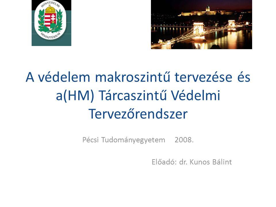 A védelem makroszintű tervezése és a(HM) Tárcaszintű Védelmi Tervezőrendszer Pécsi Tudományegyetem 2008. Előadó: dr. Kunos Bálint