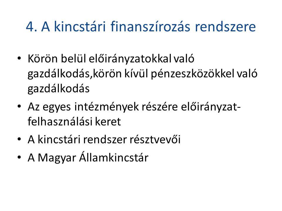 4. A kincstári finanszírozás rendszere • Körön belül előirányzatokkal való gazdálkodás,körön kívül pénzeszközökkel való gazdálkodás • Az egyes intézmé