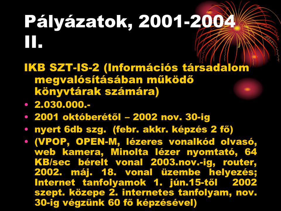 Pályázatok, 2001-2004 II.